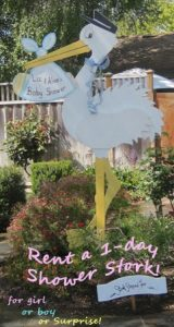 stork lawn sign rental for one day shower events
