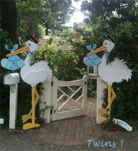 Twin Stork Lawn Signs available from Stork Stopped Here